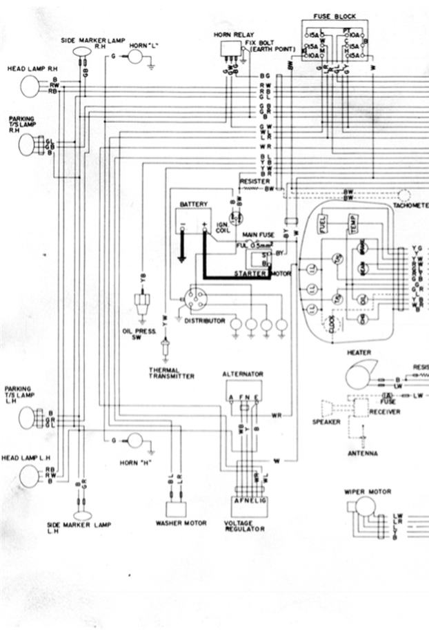 1971 Wiring Diagram  Part 1 Of 2    Datsun 1200 Club