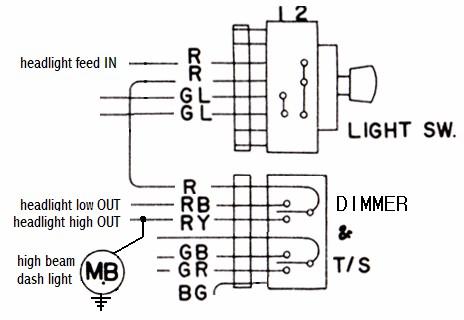 tech wiki headlight wiring datsun 1200 club. Black Bedroom Furniture Sets. Home Design Ideas
