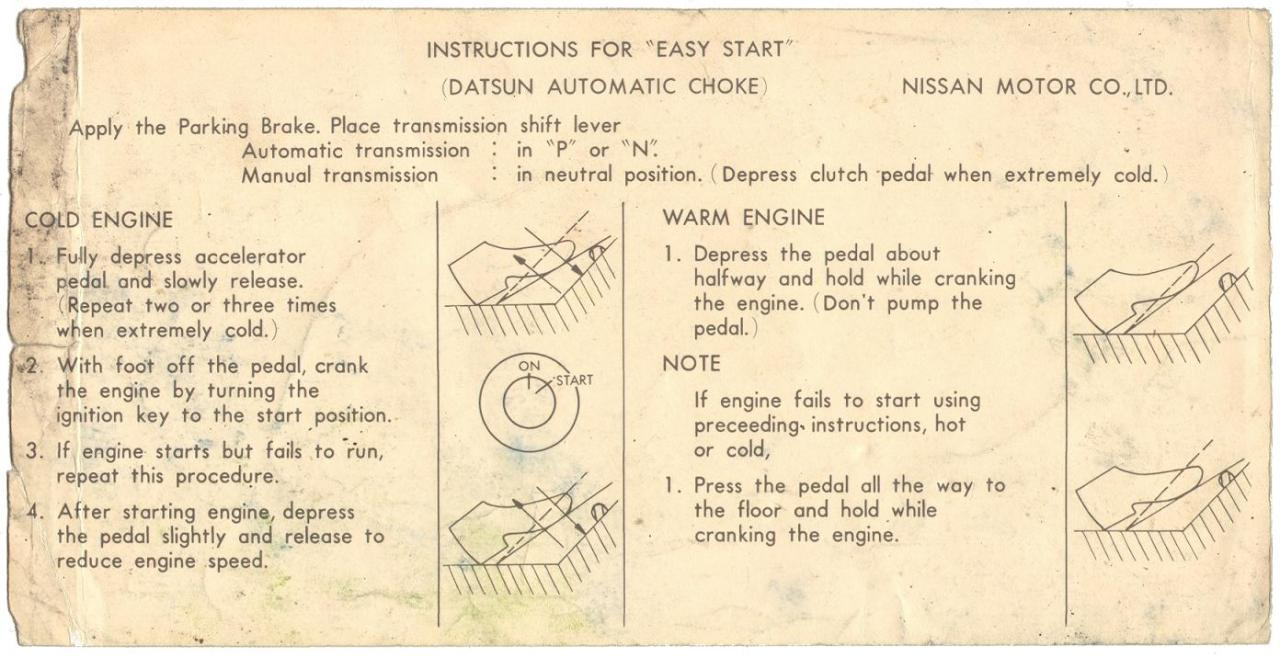 "Instructions for ""Easy Start"""