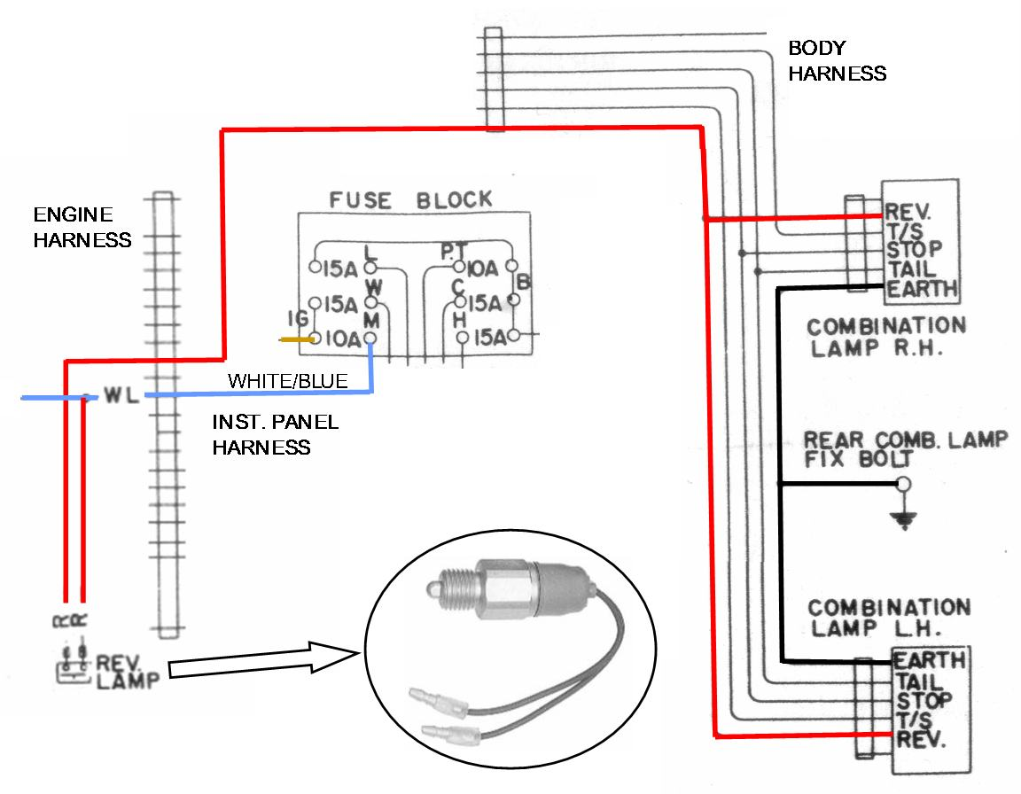 Backup Lamp Circuit Diagram Switch Fluorescent Wiring Tech Wiki Reverse Datsun 1200 Club Rh Datsun1200 Com