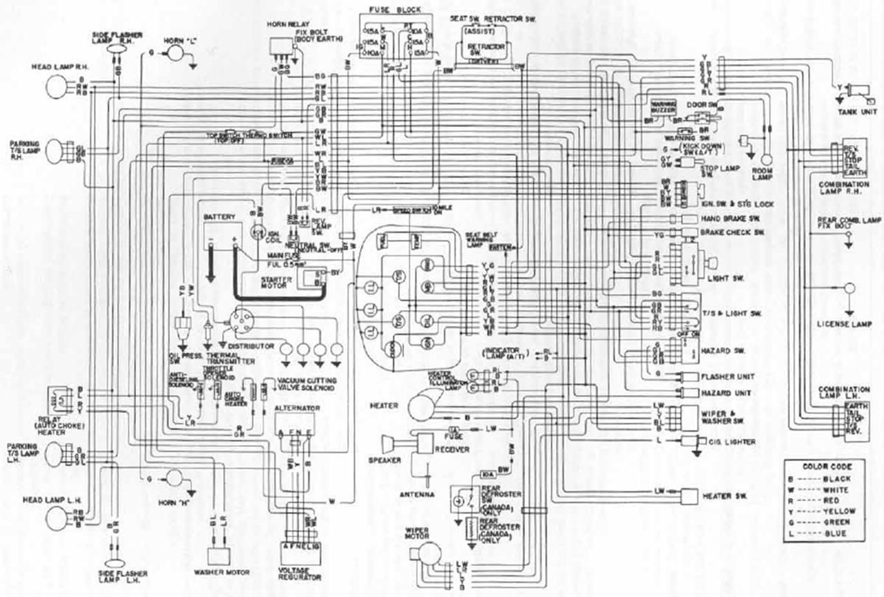 Tech Wiki - Wiring Diagram : Datsun 1200 Club Nissan An Wiring Diagram And Electrical Parts Schematic on