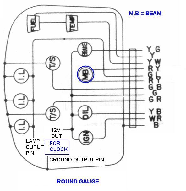 Tech Wiki - Instrument Panel Wiring : Datsun 1200 Club Datsun Amp Gauge Wiring Diagram on