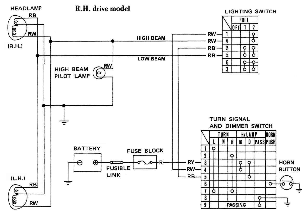 tech wiki headlight wiring datsun 1200 club rh datsun1200 com Simple Circuit Diagram Block Diagram