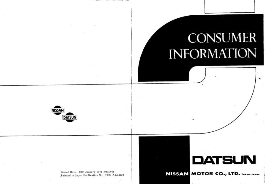 1971 Nissan Consumer Information document (USA)