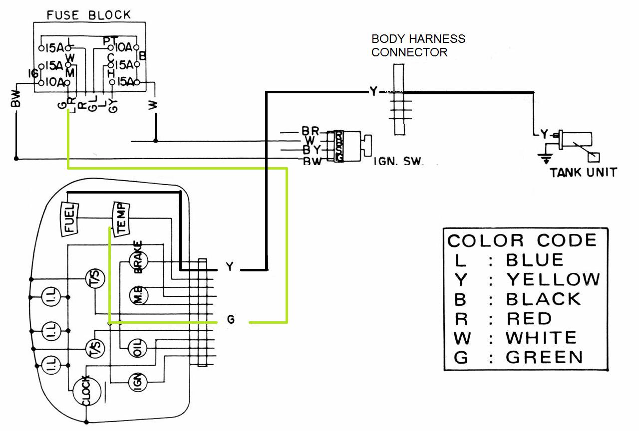 Nissan 1400 Electrical Wiring Diagram : Tech wiki fuel gauge wiring datsun club