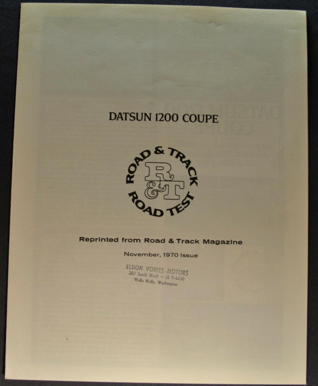 Datsun 1200 Coupe Road Test 1/4