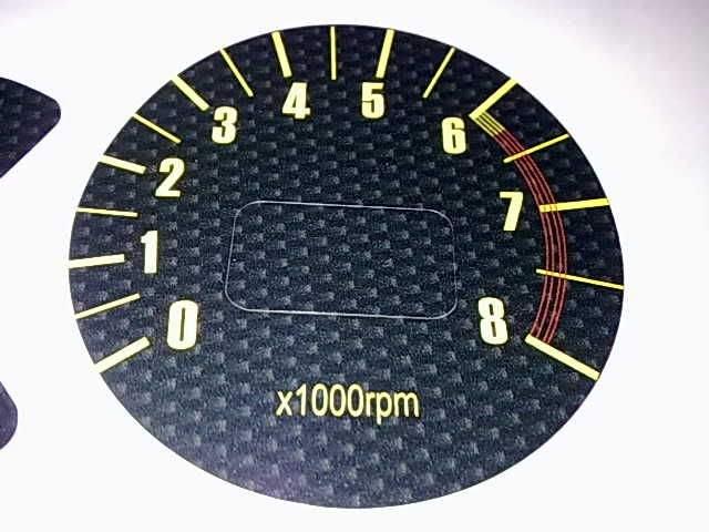 carbon fibre tachometer face