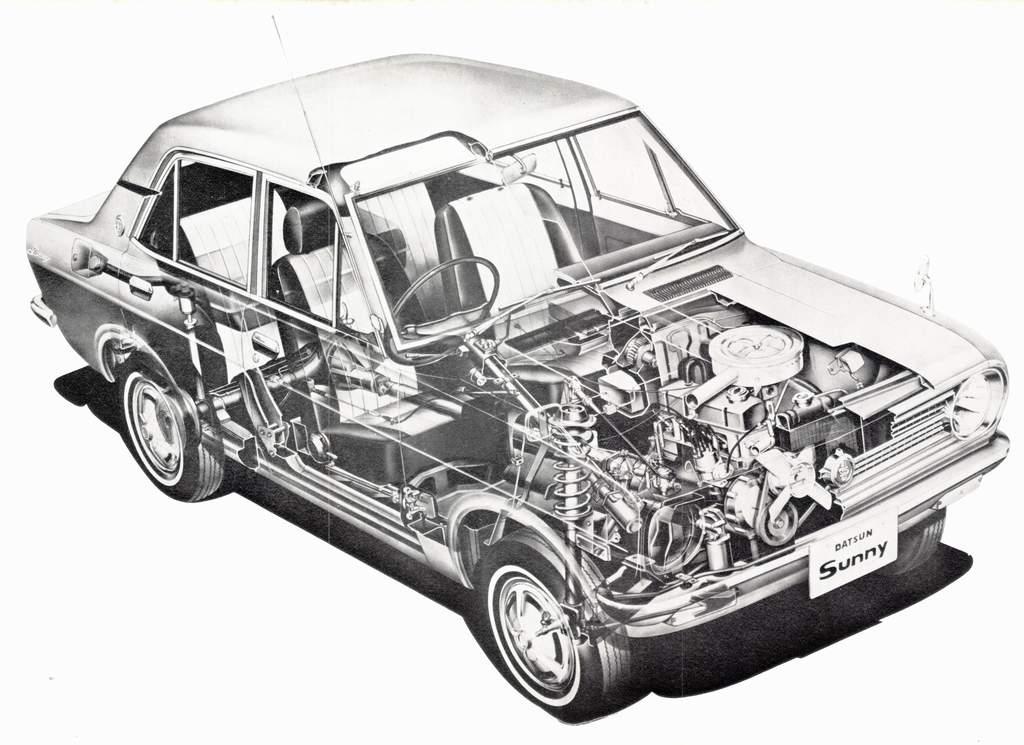 Datsun 1200 Cutaway Drawing