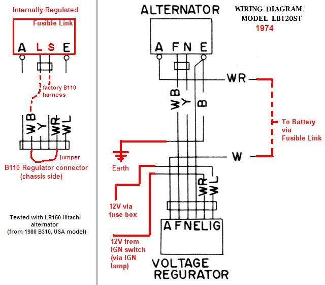 hitachi alternator wiring plug pinout wiring diagram \u2022 hitachi lr180-03c alternator wiring diagram tech wiki ir alternator conversion wiring datsun 1200 club rh datsun1200 com 12 volt alternator wiring diagram hitachi alternator rebuild kit