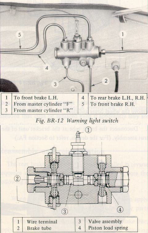 Brake Line Pressure Differential Warning Light Switch