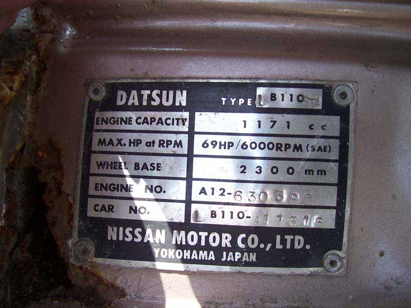 Tech Wiki Chassis Numbers Datsun 1200 Clubrhwikidatsun1200: Datsun Engine Number Location At Gmaili.net